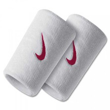 Nike Swoosh Doublewide Wristbands - White/Red