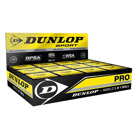 Dunlop Pro Squash Ball - 1 Dozen Double Yellow Dot