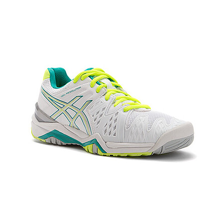 ASICS Women`s Gel Challenger 9 Tennis Shoes Silver and Green