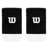 Wilson Extra Wide W Wristband Pack Of Two Black White