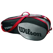 Wilson Team III 3 Pack Racket Bag Black Grey