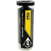 Dunlop Pro Squash Ball - 3 Ball Tube - Double Yellow Dot