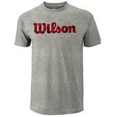 Wilson Men's Script Cotton T-Shirt Heather Grey Red