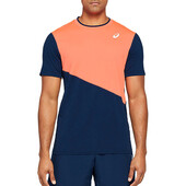 Asics Men's Club SS Tee Flash Coral Peacoat