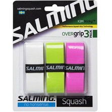Salming X3M Sticky Performance Squash OverGrip 3 Pack Wh/Lim/Pink