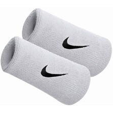 Nike Swoosh Doublewide Wristbands - White/Black