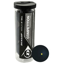 Dunlop Competition Squash Ball - 3 Ball Tube. Single Yellow Dot
