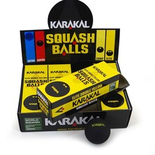 Karakal Double Yellow Dot Squash Balls - 1 Dozen