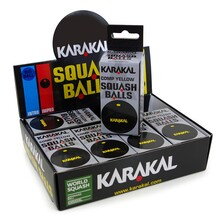 Karakal Single Yellow Dot Squash Balls - 1 Dozen