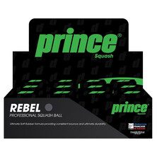 Prince Rebel Single Yellow Dot Squash Balls - 1 Dozen