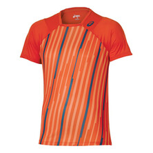 Asics Athlete Lightweight T-Shirt Men's Real Orange Volley Stripe
