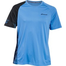 Babolat Men's Performance Crew Neck Tee Parisian Blue Black