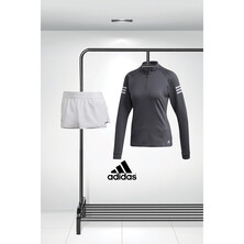 Adidas Women's Club Midlayer Grey And Club Shorts White Outfit