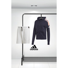 Adidas Men's ZNE Hoodie And Stretch Woven Shorts Outfit