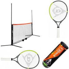 "Dunlop Mini Tennis Net 3M With 21"" Junior Racket Bundle"