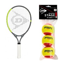 "Dunlop CV Team 21"" Junior Racket + Red Balls Starter Saver Bundle"