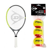 "Dunlop CV Team 23"" Junior Racket + Red Balls Starter Saver Bundle"