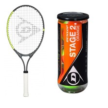 "Dunlop CV Team 25"" Junior Racket + Orange Balls Starter Saver Bundle"