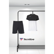 Tecnifibre Men's F1 Stretch T-Shirt And Stretch Shorts Black Heather Outfit