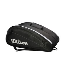 Wilson Federer Team 12 Pack Racket Bag Black White