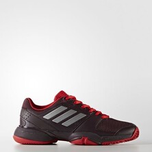 Adidas Barricade Club XJ Junior Tennis Shoes Burgundy Silver Red