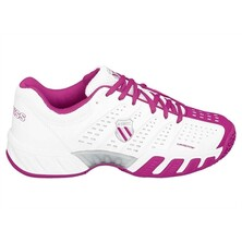 K-Swiss Kids BigShot Light Omni Tennis Shoes- White, Magenta, Silver