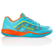 Salming Adder Junior Indoor Shoes - Turquoise Shocking Orange