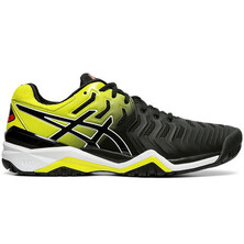 Asics Gel Resolution 7 Men's Tennis Shoes Black Sour Yuzu