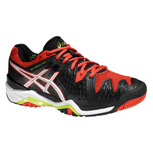Asics Gel Resolution 6 Men's Tennis Shoes Black White Orange