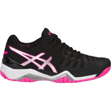 Asics Gel Resolution 7 Women's Tennis Shoes Black Silver Hot Pink