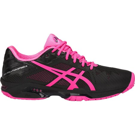 Asics Womens GEL-Solution Speed 3 Tennis Shoes - Black/Hot Pink/Silver