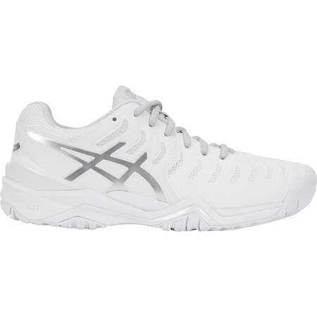 Asics Gel Resolution 7 Women's Tennis Shoes White Silver