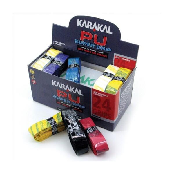 24 GRIP BOX KARAKAL PU SUPER RACKET GRIP ASSORTED COLOURS