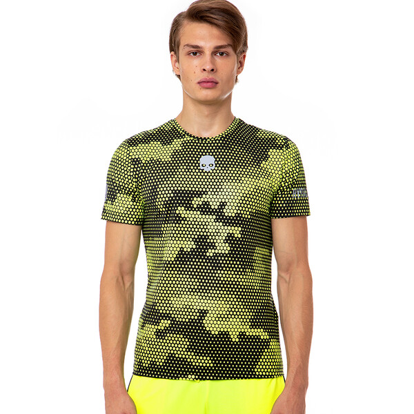 Hydrogen Men's Tech Camo Tee Fluo Yellow Black