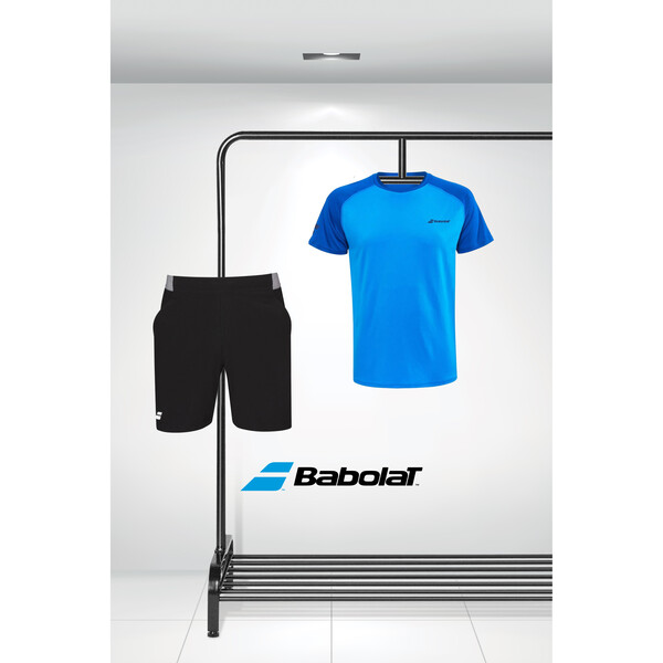 Babolat Men's Play Crew Tee & Compete Shorts Outfit