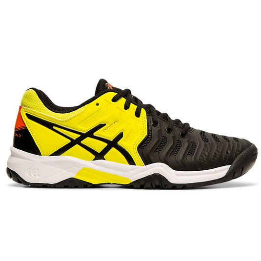 a87384c52 Asics Kids Gel Resolution 7 GS Tennis Shoes Black Sour Yuzu   Great ...