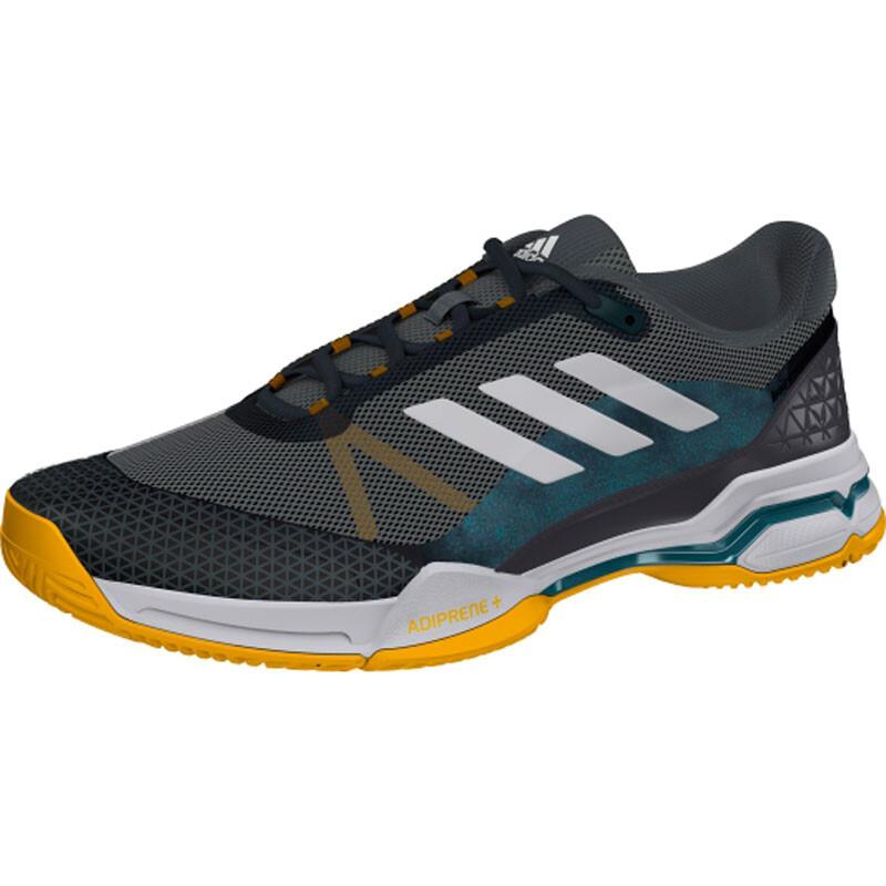 reputable site 8b322 844a2 Adidas Barricade Club Men s Tennis Shoes Metallic White Black SMAD9374