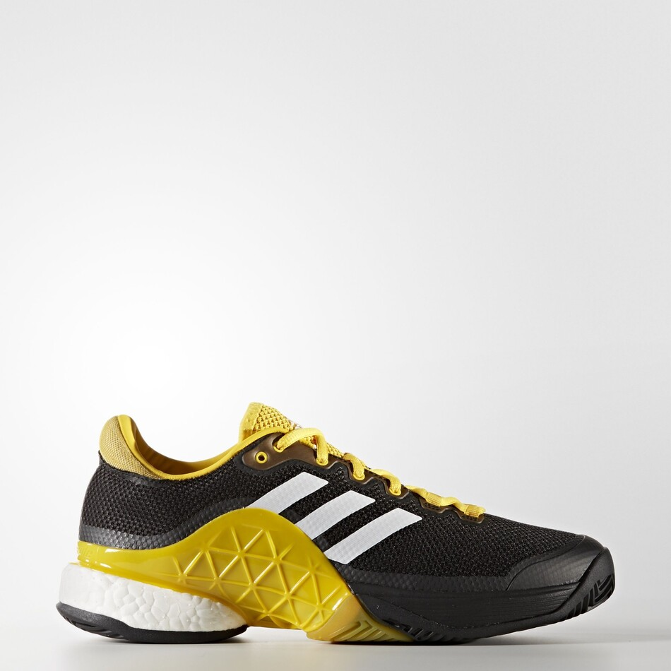 101d1cb560fb Adidas Mens Barricade Boost Tennis Shoes Black Yellow SMAD9581