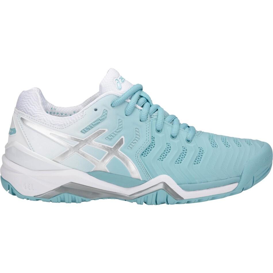 5744b3ec78acb Asics Gel Resolution 7 Women s Tennis Shoes Porcelain Blue Silver White  2018 SWAC10693