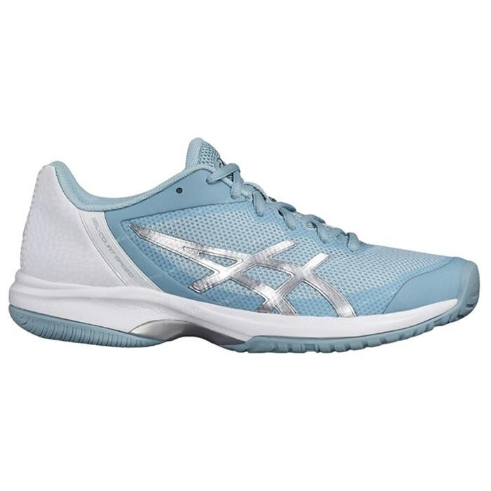 Asics Gel Court Speed Women s Tennis Shoe Porcelain Blue Silver White 2018 7e54bf7b85