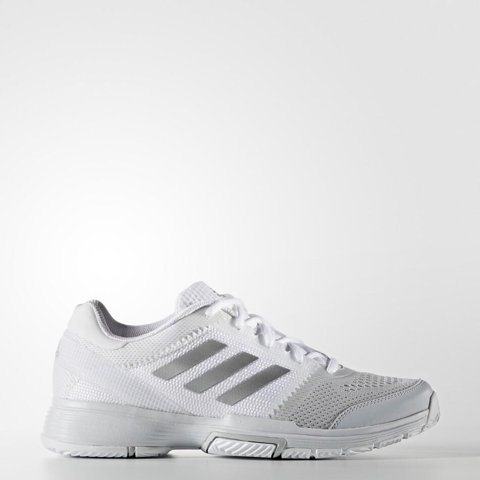 95c596535f8 Adidas Barricade Club Women s Tennis Shoes White Silver SWAD8724